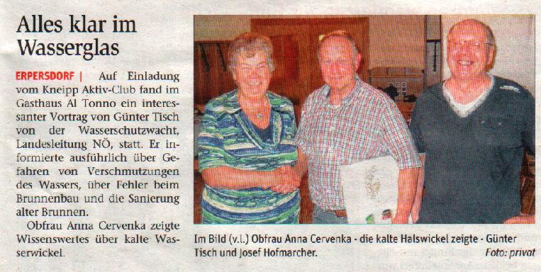 """Vortrag von Hr. Günter Tisch """"Alles klar im Wasserglas"""" NÖN Woche 21/2015"""