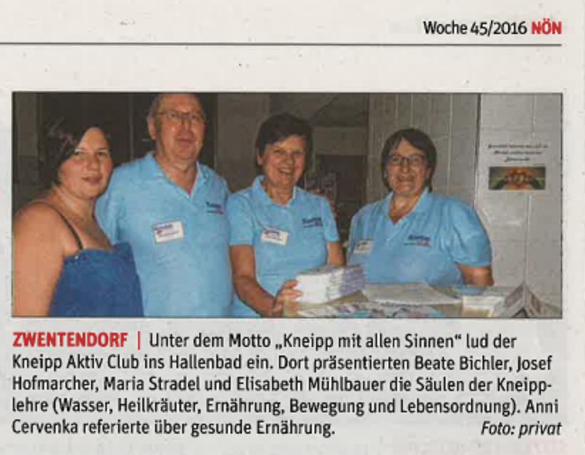 Kneipp mit allen Sinnen erleben im Hallenbad Zwentendorf am 24. Oktober 2016